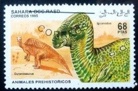 Selo postal do Sahara Ocidental de 1995 Iguanodon