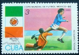 Selo postal de Cuba de 1985 World Cup hosts México (1970)