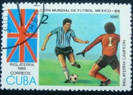 Selo postal de Cuba de 1985 World Cup hosts England (1966)