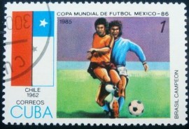 Selo postal de Cuba de 1985 World Cup hosts Chile (1962)