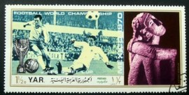 Selo postal da Rep. Árabe do Yemen de 1970 Football scene