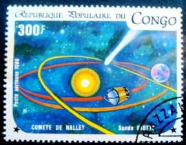 Selo postal da Rep. Popular do Congo de 1986 Sonde Giotto