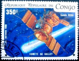 Selo postal da Rep. Popular do Congo de 1986 Sonde Vega