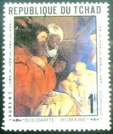 Selo postal do Tchad de 1969 Adoration of the Magi