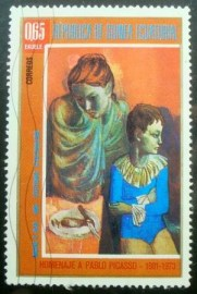 Selo postal da Guinea Equatorial de 1974 Mother and Son