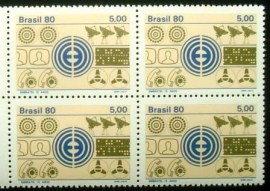 Quadra de selos do Brasil de 1980 Embratel M GC