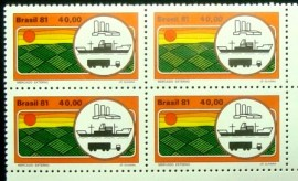 Quadra de selos postais do Brasil de 1981 Mercado Externo M GC