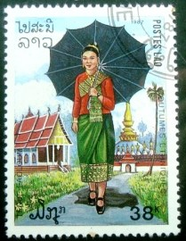 Selo postal do Laos de 1987 Village