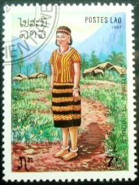 Selo postal do Laos de 1987 Mountain