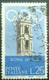 Selo postal da Itália de 1959 Tower of the Campidoglio