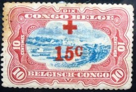 Selo postal do Congo Belga de 1918 Red Cross