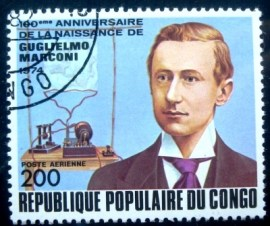 Selo postal da Rep. Popular do Congo de 1974 Marconi and wireless telegraph