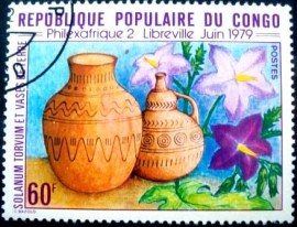 Selo postal da Rep. Popular do Congo de 1979 Solanum torvum