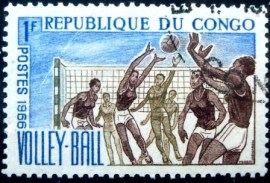Selo postal da rep. Popular do Congo de 1966 Volleyball