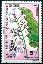 Selo postal da Rep. Popular do Congo de 1971 Milletia laurentii