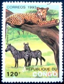 Selo postal da Rep. Popular do Congo de 1993 Leopard