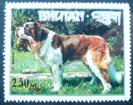 Selo postal do Buthan de 1973 Saint Bernard Dog