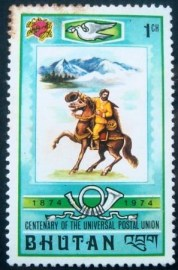 Selo postal do Buthan de 1974 Mailman on Horseback