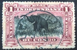 Selo postal do Estado Independente do Congo de 1894 African Elephant