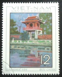 Selo postal do Vietnã de 1964 Khue Van tower