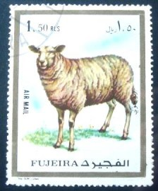 Selo postal da Fujeira de 1972 Domestic Sheep