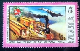 Selo postal de Granada de 1974 US Mail Train & Concorde