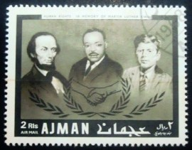 Selo postal do Ajman de 1968 Lincoln, King, Kennedy