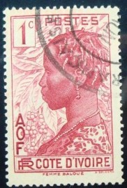 Selo postal da Costa do Marfim de 1936 Baoule woman 1c