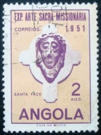 Selo postal da Angola de 1952 Head of Christ