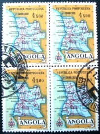 Quadra de selos postais da Angola de 1955 Map of Angola 4$