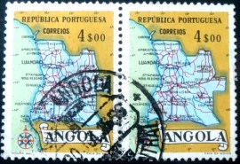 Par de selos postais da Angola de 1955 Map of Angola 4$