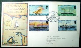 Envelope postal FDC de Guernswey de 1972 Mail Packet Boats