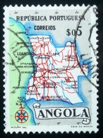 Selo postal da Angola de 1955 Map of Angola $05