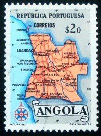 Selo postal da Angola de 1955 Map of Angola $20