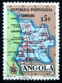 Selo postal da Angola de 1955 Map of Angola $50