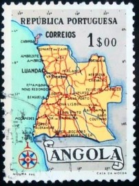 Selo postal da Angola de 1955 Map of Angola 1$
