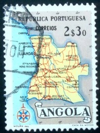 Selo postal da Angola de 1955 Map of Angola 2$30