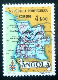 Selo postal da Angola de 1955 Map of Angola 4$