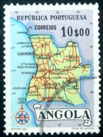 Selo postal da Angola de 1955 Map of Angola 10$