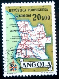 Selo postal da Angola de 1955 Map of Angola 20$