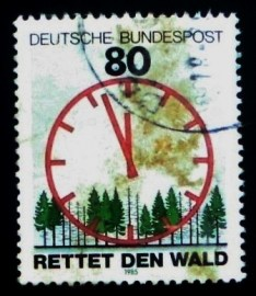 Selo postal da Alemanha de 1985 Save the Forests & Clock
