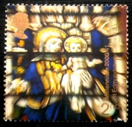 Selo postal do Reino Unido de 2000 Virgin and Child Stained Glass Window