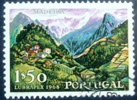 Selo postal de Portugal de 1968 Mountainous landscape on Madeira