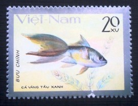 Selo postal do Vietnam de 1977 Tau xanh / Blue Chinese Goldfish
