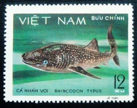 Selo postal do Vietnam de 1980 Whale Shark