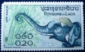 Selo postal do Laos de 1958 Asian Elephant