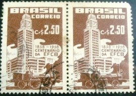 Par de selos postais de 1958 Central do Brasil