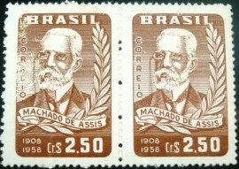 Par de selos postais do Brasil de 1958 Machado de Assis