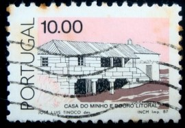 Selo postal de Portugal de 1987 Minho and Douro coasthouse