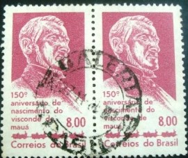 Par de selos postais do Brasil de 1963 Visconde de Mauá